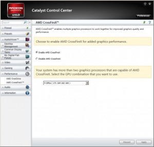 Включение AMD CrossFireX в Catalyst Control Center